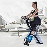 KirinSport Bicicleta estática plegable, 8 niveles de resistencia, bicicleta de fitness con sensores de pulso de mano y ordenador de entrenamiento, color plateado
