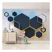 3Dステレオジオメトリ六角形壁画ベッドサイドリビングルームテレビ背景壁紙