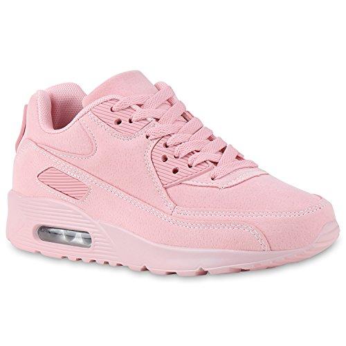 stiefelparadies Damen Herren Unisex Sport Runners Sneakers Lauf Trendfarben Schuhe 134751 Rosa Total 38 Flandell