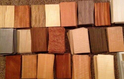 30 Pieces Wood Veneer Identification Labeled Pack Named Variety Domestic Exotic Marquetry