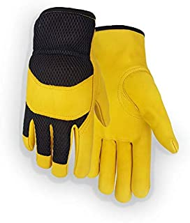 MADE IN USA Golden Stag Work Glove Heavy Duty Cowhide Mesh Back Glove, X-Large, USA212