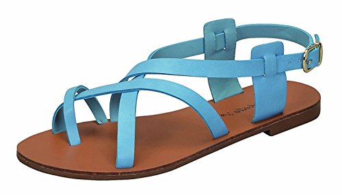 Breckelle's Women's Strappy Gladiator Ankle Wrap Flat Sandal (6.5 B(M) US, Blue)