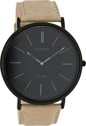 Oozoo Vintage Herrenuhr Lederband 44 MM Schwarz/Beige C8171