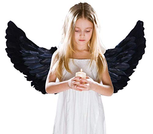 Children's Black Feathers, Angel Wings for Kids Adult Cosplay Halloween Party (Black 2)