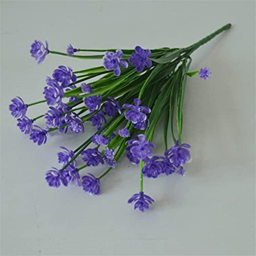 5 Bundles Fake Artificial Flowers Outdoor for Decoration UV Resistant No Fade Faux Plastic Plants Garden Porch Window Kitchen Office Table (Purple)