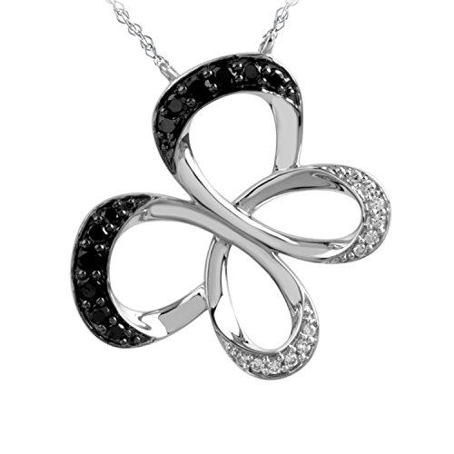 Jessica Simpson 10K White Gold 1/4cttw Black & White Diamond Butterfly Pendant
