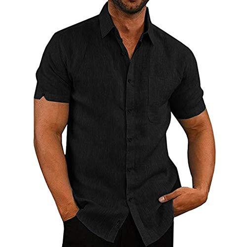 KUKICAT Chemise Lin Homme Blanche Manches Courtes T-Shirt Polos Homme Slim Fit sans Repassage Blouse Tops Été Casual d'affaires Doux Confortable Respirant