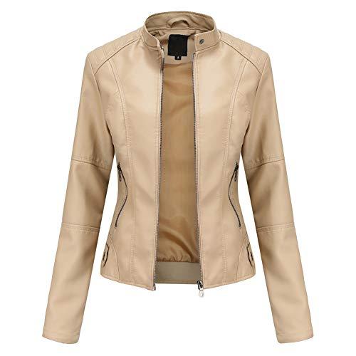 YYNUDA - Chaqueta de piel sintética para mujer, diseño de aviador, moto, cazadora de piel sintética con cremallera, cálida, casual, beige, XL