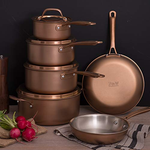 Fleischer & Wolf Copper Cookware Sets 10-Pieces,Triply Stainless Steel, Pots and Pans Sets,...