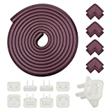 Baby anti-collision corner guards baby proofing furniture safety edge protection stickers table corner anti-collision device (19.6 inch anti-collision strip + 8 corner pads + 8 insulated socket plugs)