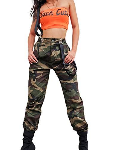 SOMTHRON Mujer Carga Holgado Hip Hop Pantalones con Cadena Cintura Alta Pantalones Harén
