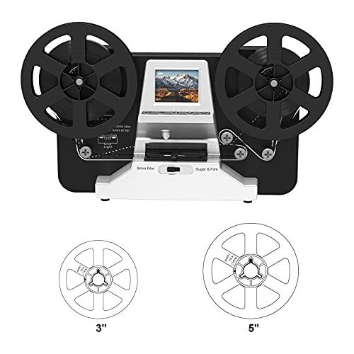 8mm & Super 8 Reels to Digital MovieMaker Film Scanner, Pro Film Digitizer Machine with 2.4' LCD, Black (Convert 3 inch and 5 inch 8mm Super 8 Film reels) with 32 GB SD Card