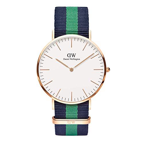 Daniel Wellington Classic Warwick, Blau-grün/Roségold Uhr, 40mm, NATO, für Herren