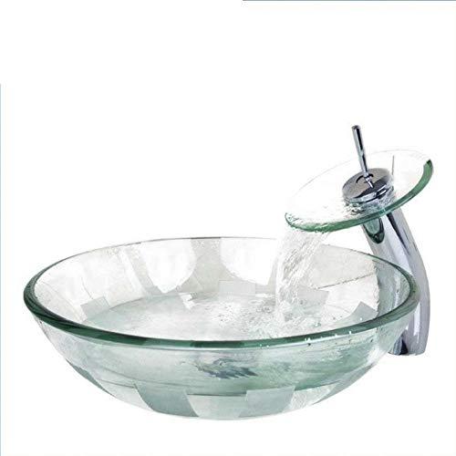 Jgophu Glasschale, Waschbecken, Waschbecken mit Wasserfall Wasserhahn gehärtetes Glas Waschbecken Set