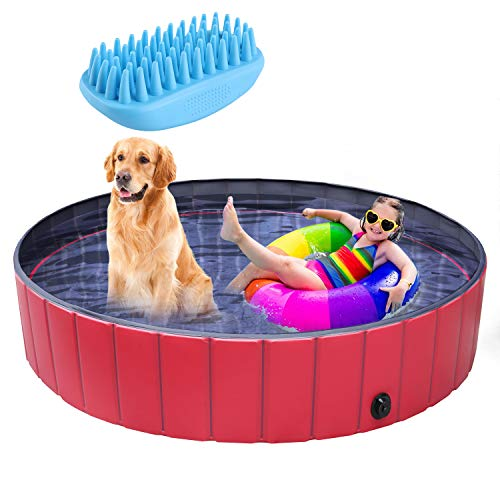 """pedy Dog Swimming Pool Collapsible Pet Bath Pool Foldable Bathing Tub Kiddie Pool for Dogs Cats and Kids(Large-63"""" X 11.8"""")"""