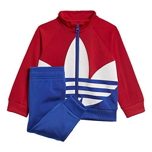 adidas Big Trefoil TS, Tuta Unisex Bimbi, Top:Scarlet/Team Royal Blue/White Bottom:Team Royal Blue, 1218