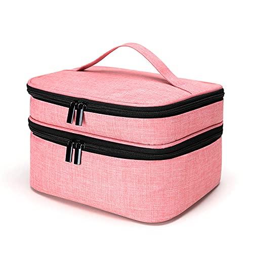 laoonl Bolsa de almacenamiento portátil de gran capacidad, bolsa de cosméticos de doble capa portátil para esmalte de uñas, bolsa de almacenamiento, bolsa de viaje