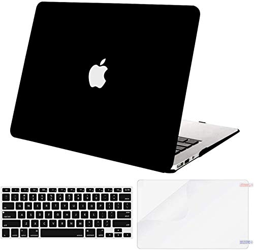 MOSISO Compatible with MacBook Air 13 inch Case (Models: A1369 & A1466, Older Version 2010-2017 Release), Protective Plastic Hard Shell Case & Keyboard Cover & Screen Protector, Black