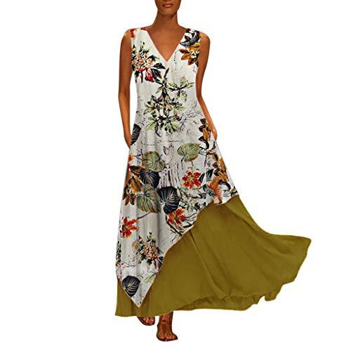 NANTE Top Sleeveless Maxi Dress Vintage V Neck Splicing Casual Dresses Skirts Floral Printed Sundress Plus Size Skirt (S-5XL) (XXXL, White)