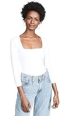 Free People Women's 3/4 Sleeve Square Eyes Thong Bodysuit, White, Medium