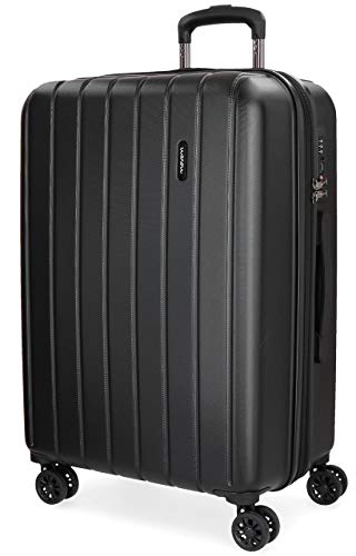 Movom Wood Maleta mediana Negro 44,5x65x27,5 cms Rígida ABS Cierre TSA 68L 3,8Kgs 4 Ruedas Dobles Extensible