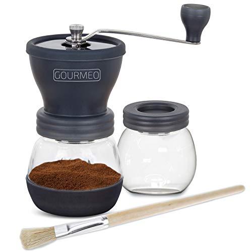 GOURMEO Handkaffeemühle mit einstellbarem Keramikmahlwerk inkl. Extra Glasbehälter und Reinigungspinsel