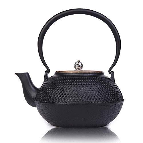 Yruog Teteras Tetera de hierro fundido Tetera Tetera japonesa Tetera de hierro fundido con tapa de latón Botón plateado para té de hojas sueltas Negro 1250ml
