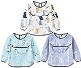 Chilsuessy Baby Wasserdicht Ärmellätzchen abwaschbar Baby Latz mit wasserdicht Langarm 3 Pack lätzchen mit auffangschale Smock Schürze für Kleinkinder (0-2 Jahre, Weiß + Blau + Grün)
