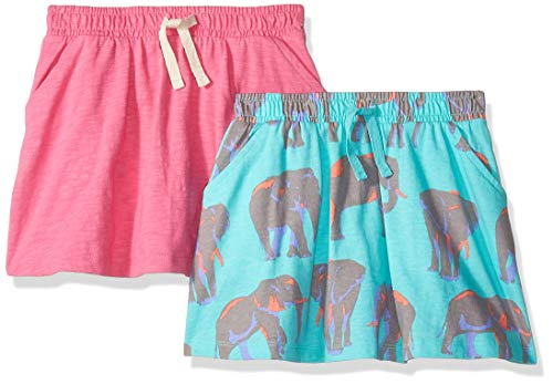 Amazon Brand - Spotted Zebra Kids Girls Knit Scooter Skirts, 2-Pack Elephants/Pink, Large