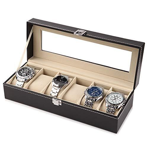 YCMY Lederuhr Black Men's Watch Storage Box Case with Window Jewelry Women Geschenk Case Fashion Display Jewelry
