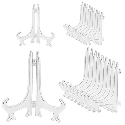 20 Pack Plastic Easel Plate Stands for Display Pictures, Photo, Dish, Art Pieces, Certificates, Placecard, Posters, Envelopes and Small Boards, 2 Size 3' 6' (Clear)