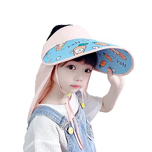 ZHANGYAN Hombrero de Copa vacío para niños, UPF 50+ Sombrero de ala Ancha de Ancho, Sombrero Grande de ala Grande con protección para Cuello, 3-10 años (Color : Pink, Size : 48-55cm/18.8-21.6in)
