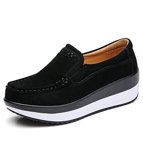 Primavera Y Otoño De Suela Gruesa Lussou Muffin Zapatos De Mujer Pendiente Con Zapatos De Mujer De Suela Plana Zapatos Mecedores De Suela Plana Zapatos De Frijol Mujeres 35 3213 negro