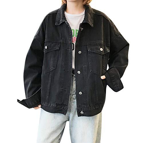 YBIRAL Jacke Damen Ex-Boyfriend Schwarz Jeansjacke Vintage Langhülse Lose Übergangsjacke Mädchen Jeans Mantel Beiläufige Outwear