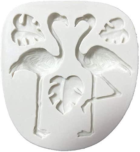 hwljxn 3D Flamingo Schildkröte Blattform Silikon Fondant Kuchen Formen Küche Dekorieren Form Candy Clay Schokoladenformen