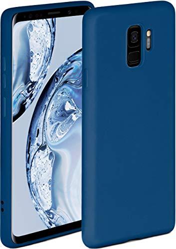 ONEFLOW Soft Hülle kompatibel mit Samsung Galaxy S9 Hülle aus Silikon, erhöhte Kante für Displayschutz, zweilagig, weiche Handyhülle - matt Blau