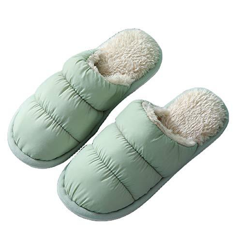 YTO Paño de plumón de otoño e Invierno, Zapatillas de algodón para el hogar, Antideslizantes Masculinos y Femeninos, Zapatillas Calientes para Parejas