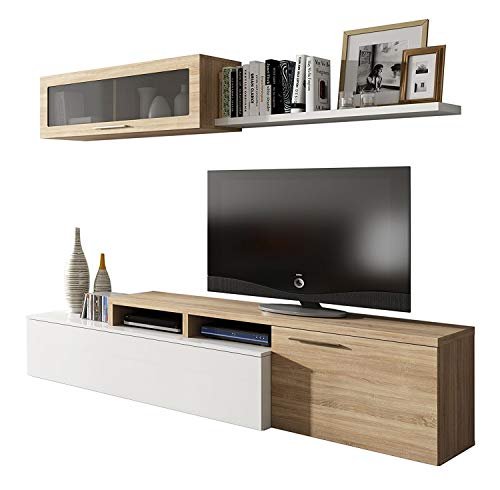 Habitdesign - Mueble de salon Comedor Moderno, Medidas: 200x41/34x43 cm de Alto (Blanco Brillo y Roble Canadian)