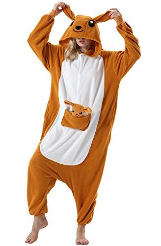 Mujer Hombre Pijama Animal Entero Unisex para Adultos con Capucha Cosplay Pyjamas Ropa de Dormir Traje de Disfraz para Festival de Carnaval Halloween Navidad Canguro para Altura 148-187cm