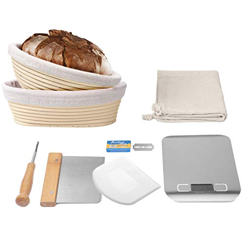 La Patisserie Bread Proofing Basket – 11 Piece Bread Baking Kit with Round and Oval Banneton Basket, Liners, Dough Scrapers, Scoring Lame, Blades, Digital Scale, Canvas Bread Bag