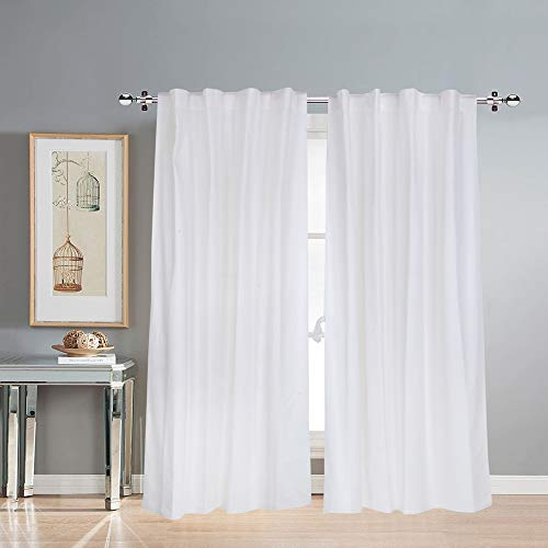 Cotton Curtains for Long Doors 9 Feet Set of 2, Linen Textured Long Doors Curtains for Home Decor, Hangs Elegantly with Back Loops (4.5ft x 9ft, Solid White)