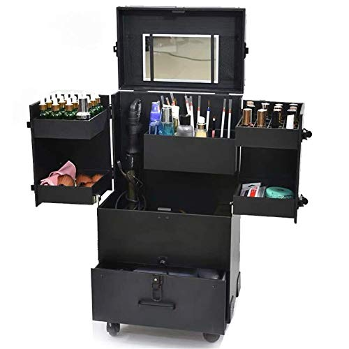 DDL Multi-layer Rolling Luggage Trolley Suitcases Large Capacity Make-up Toolbox Cosmetic Storage