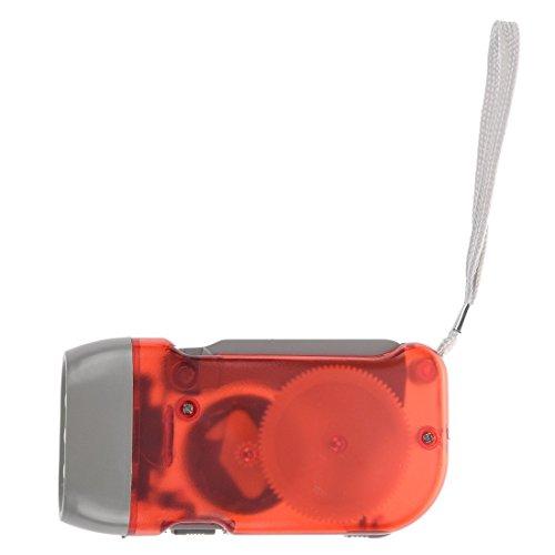 TOOGOO Rojo - Linterna 3 LED No Bateria con Manivela para Campamento Exterior