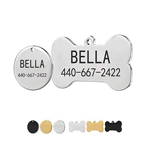 Medagliette identificative per cani e gatti, personalizzabili, a forma di osso o rotonde, 3 colori