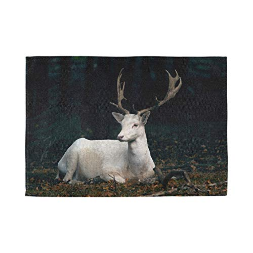 Nostalgic Crossweave Woven Placemats for Dining Room Kitchen Table Decor, Set of 4, Animal Deer Horns Wildlife