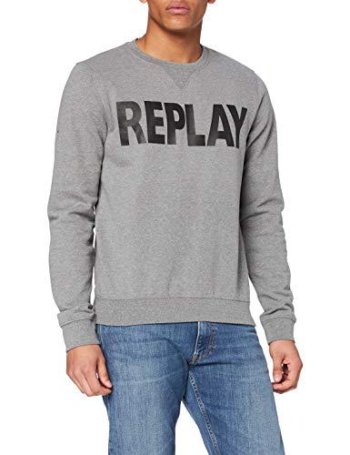REPLAY M3666 .000.21842 Camiseta, Gris (Melange Grey M14), Medium para Hombre