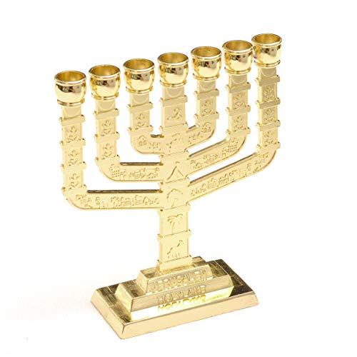 Anandashop Dorado Jerusalén Candelero Decorativo Judaica 7 Rama Menorah Hanukkah Regalo