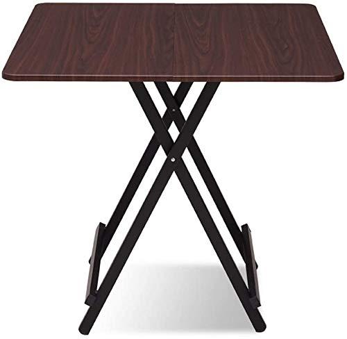 Mesas de picnic portátiles domésticos Mesa plegable Mesa de madera balcón jardín patas metálicas cuadradas pequeña mesa de comedor,E-60X60 cm