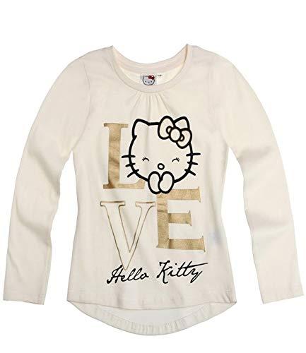 Hello Kitty Langarmshirt Sweatshirt für Mädchen in 4 Größen und 3 Motive wählbar, Farbe:Creme, Größe:140