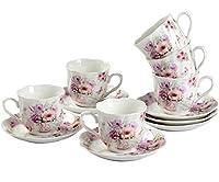 guangyang set 6 tazzine da caffe espresso - 80 ml porcellana elegantemente e raffinato dipinto a mano vintage fiori servizio tazze caffe con piattini particolari 12 unità